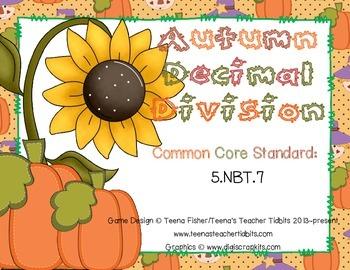 Autumn Pumpkin Decimal Division Math Center 4th, 5th, 6th Grade