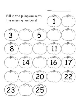 Autumn Pumpkin Fill in The Numbers