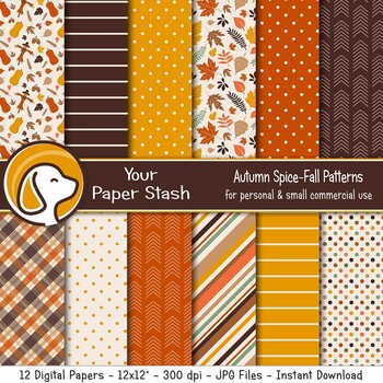 Autumn Pumpkin Spice Digital Papers and Backgrounds for Halloween & Thanksgiving