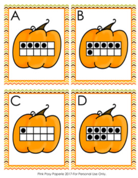 Autumn Pumpkin Ten Frames 0-10 Count the Room