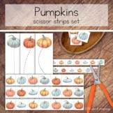 Autumn Pumpkins Cutting Strips, Scissor Practice