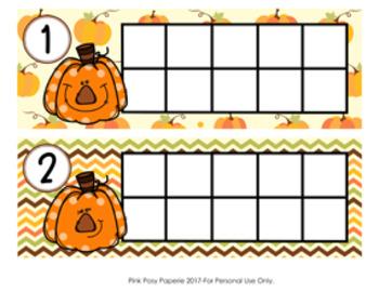 Autumn Pumpkins Ten Frame Cards
