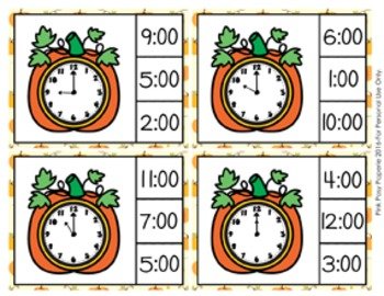 Autumn Pumpkins Time to the Hour Clip Cards