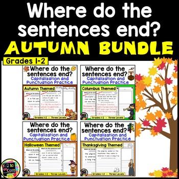 Autumn/Fall BUNDLE - Punctuation and Capitalization: Where do the sentences end?