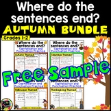 Autumn Punctuation and Capitalization; Where do the sentences end? FREE SAMPLER