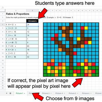 Autumn - Ratios & Proportions - Google Sheets Pixel Art
