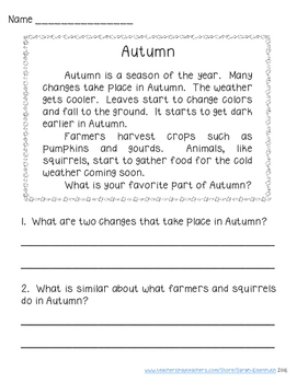 Autumn Reading Comprehension FREEBIE
