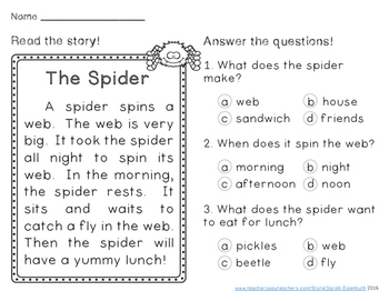Autumn Reading Comprehension Passages First Grade