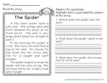 Autumn Reading Comprehension Passages Second Grade