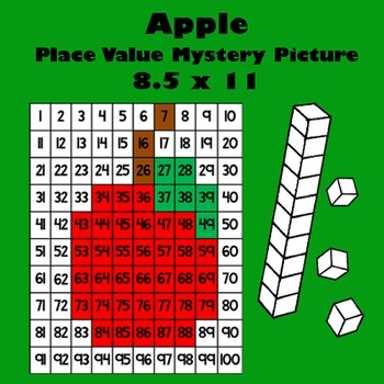 Autumn Red Apple Place Value Math Mystery Picture - 8.5x11