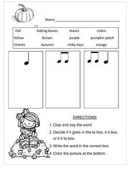 Autumn Rhythm Worksheet