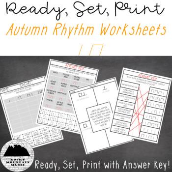Autumn Rhythm worksheets Ta and Titi