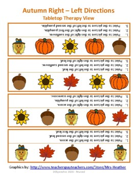 Autumn Right-Left Directions. FREEBIE!