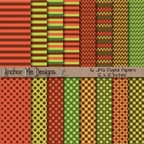 Autumn Rust & Green (Fall Colors) Chevron, Polka Dot & Striped Paper Pack