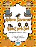Noun and Verb Sort Game with Worksheet - Scarecrows