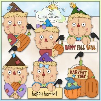 Autumn Scarecrows Clip Art Bundle - Fall Scarecrows - 2 Clip Art & B&W Sets