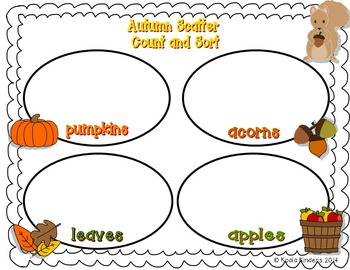 Autumn Scatter Sort, Count, and Add Activity Pack