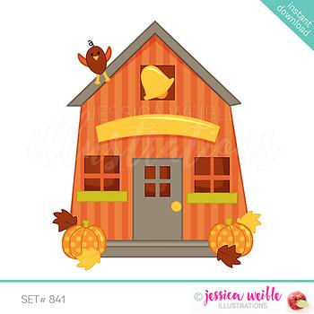 Autumn School House Clip Art