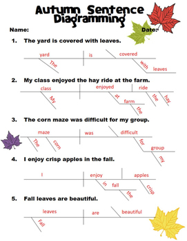 Autumn sentence diagramming worksheet by beyond the chalkboard tpt autumn sentence diagramming worksheet ccuart Choice Image