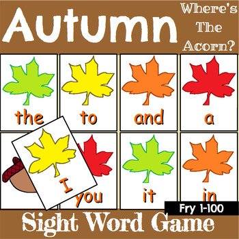Autumn Sight Word Recognition Center or Whole Group Game for Fry 1-100