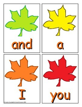 Autumn Sight Word Recognition Center or Whole Group Game for Pre Primer