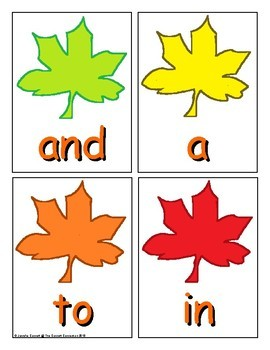 Autumn Sight Word Recognition Center or Whole Group Game for Zeno List