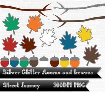 Autumn Silver Glitter Acorn Leaf and Branch Clip Art Collection PNG 300DPI