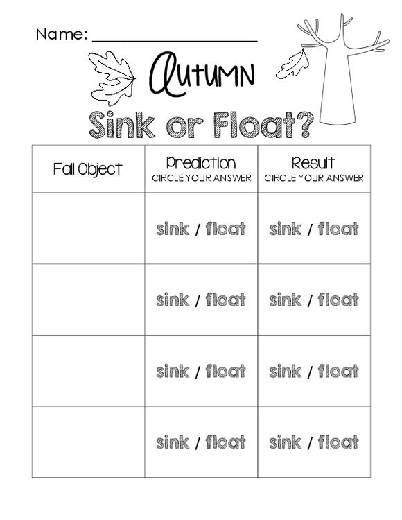 Autumn Sink Or Float Worksheet By Little Learning Lane Tpt
