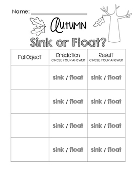 autumn sink or float worksheet by little learning lane tpt. Black Bedroom Furniture Sets. Home Design Ideas
