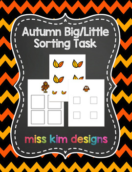 Autumn Size Sorting Folder Game for students with Autism