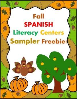Autumn Spanish Literacy Centers SAMPLER FREEBIE