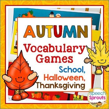 Autumn Vocabulary Games: Back to School, Halloween & Thanksgiving