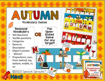 Fall Vocabulary Games: Back to School, Halloween & Thanksgiving