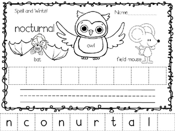 Autumn Spell and Write Vocabulary Words