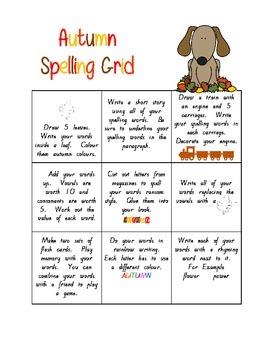 Autumn Spelling Grid