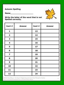 Autumn spelling Task Cards