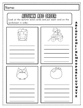 Autumn Spelling Worksheet Packet: Kinder to 2nd Grade