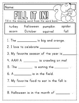autumn spelling worksheet packet kinder to 2nd grade tpt. Black Bedroom Furniture Sets. Home Design Ideas