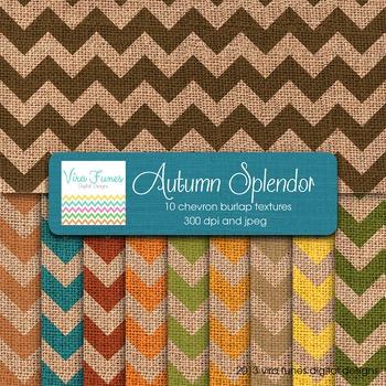 Autumn Splendor Colors Digital  Burlap Chevron Textures 12x12 10 papers