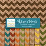 Autumn Splendor Colors Digital  Burlap Chevron Textures 12