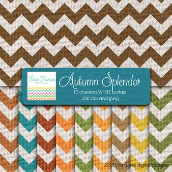 Autumn Splendor Colors Digital White Burlap Chevron Textur