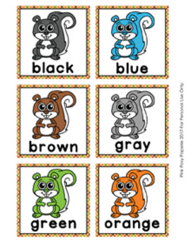 Autumn Squirrel Color Match Clip Cards and Memory Game