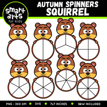 Fall Squirrel Spinners Clipart