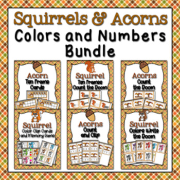 Autumn Squirrels and Acorns Colors and Numbers Bundle