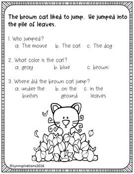 ESL Newcomer: Fun in Autumn Reading Comprehension Passages ESL K-3