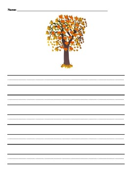 Autumn Story Papers with Handwriting Lines