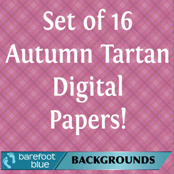 Autumn Tartan Digital Papers or Backgrounds