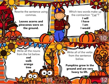 Autumn Task Card BUNDLE (Math+Grammar)