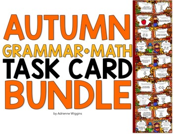 Autumn Task Card BUNDLE (Math+Grammar)