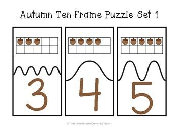 Autumn Ten Frame Self-Checking Puzzles